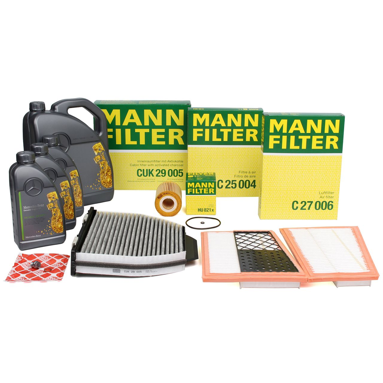 MANN Filterset + 8 L ORIGINAL Mercedes 5W30 Motoröl C-Klasse W204 S204 C320/350CDI