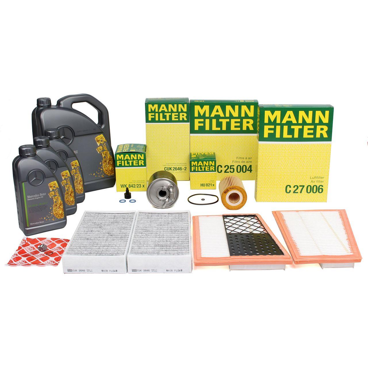MANN Inspektionskit + 8 L ORIGINAL für Mercedes 5W30 Motoröl X164 W164 W251 V251