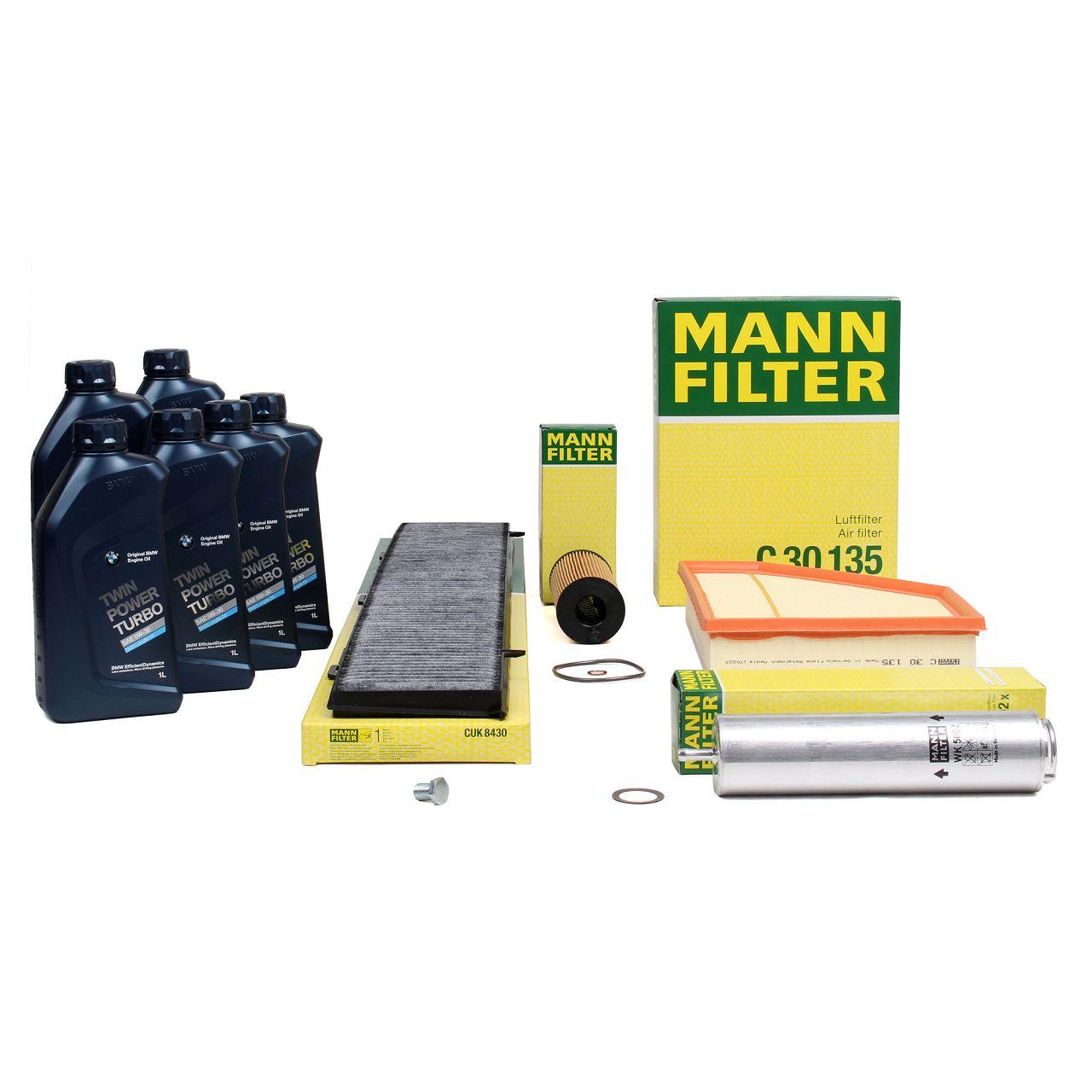 MANN Filterset + 6 L ORIGINAL BMW 5W30 Motoröl für 1er E81-88 116-123d 90-204PS