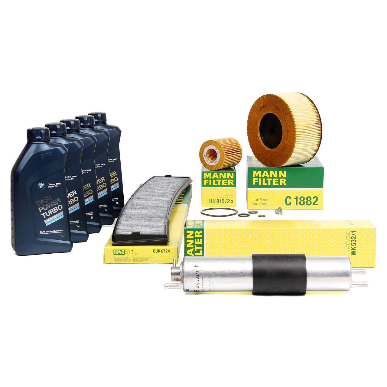 MANN Filterset + 5 L ORIGINAL BMW 5W30 Motoröl für E46 316i 318i 115/143/150 PS