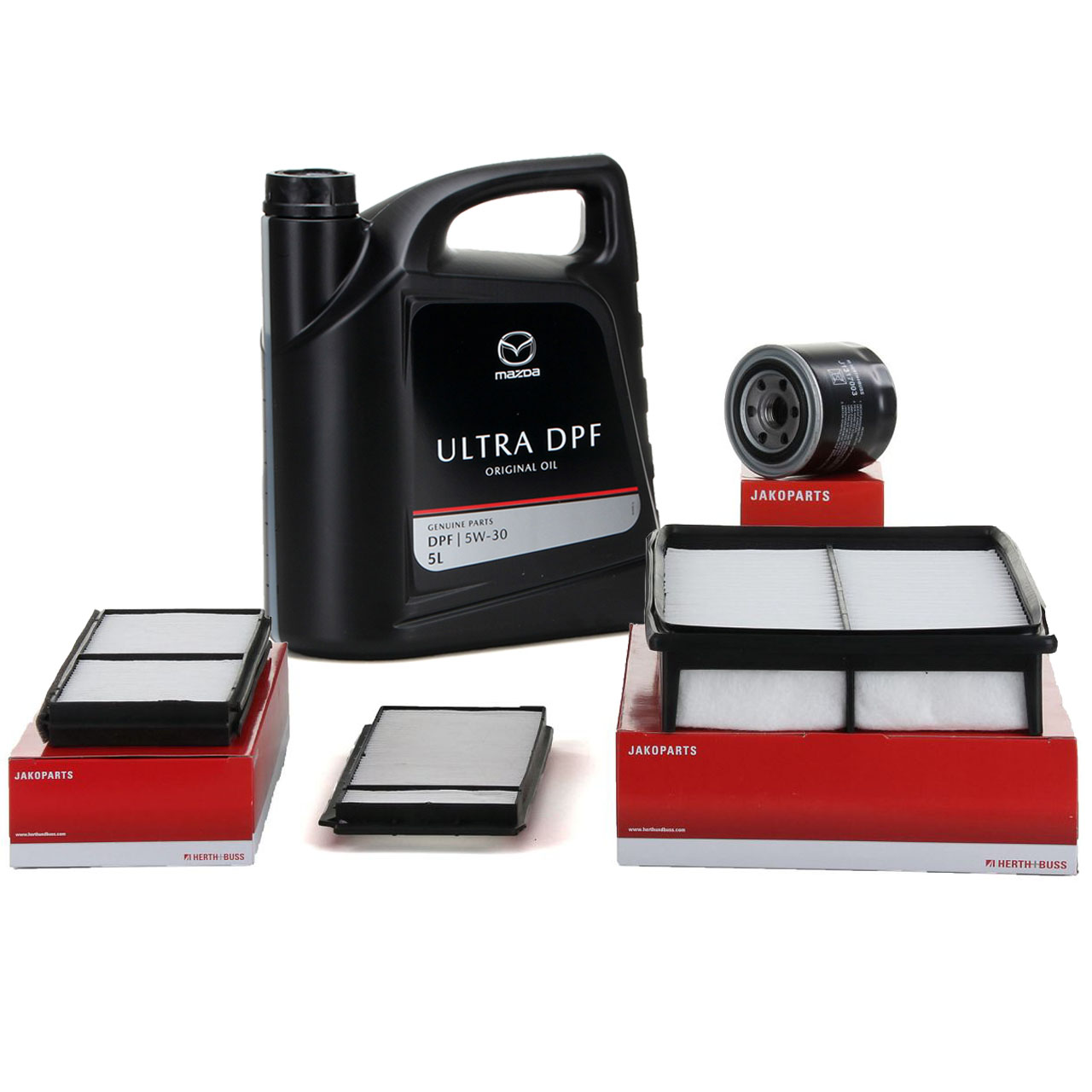 HERTH+BUSS Filterset 3-tlg + 5L ORIGINAL Mazda Motoröl ULTRA DPF 5W30 3 BK 5 CR19 2.0 CD