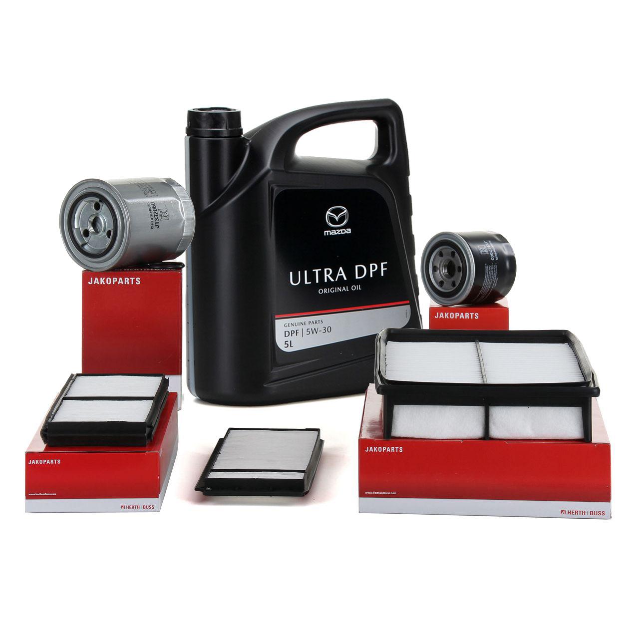 HERTH+BUSS Inspektionskit + ORIGINAL Mazda Motoröl ULTRA DPF 5W30 für 3 BK 5 CR19 2.0 CD