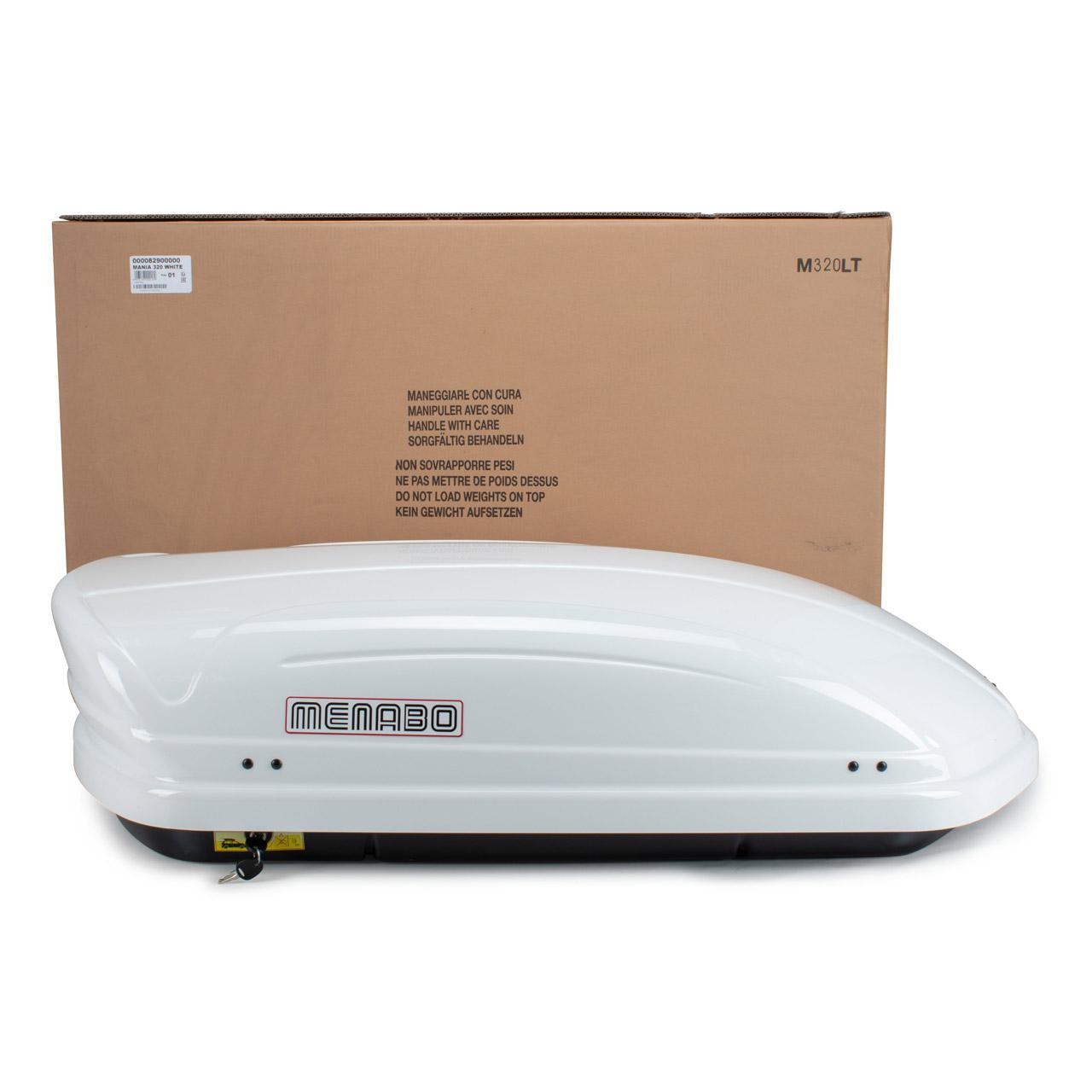MENABO MANIA 320 WHITE Dachbox Dachkoffer rechtsöffnend 137x79x376cm 320 Liter