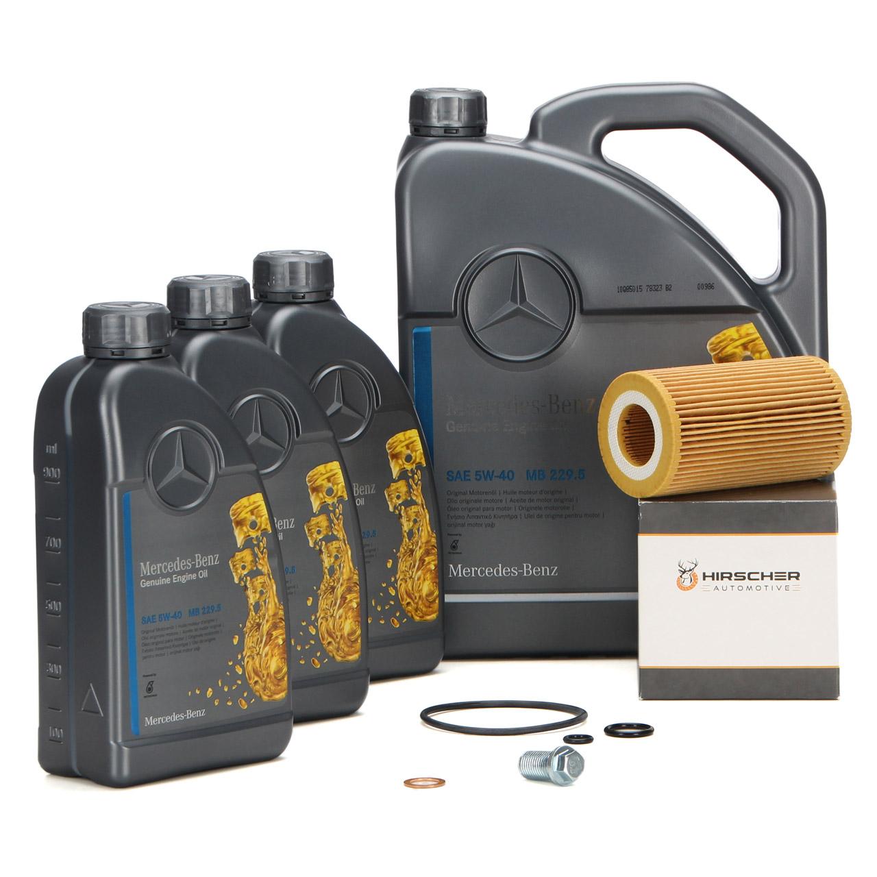 ORIGINAL Mercedes-Benz Motoröl 5W40 MB 229.5 8 L + HIRSCHER Ölfilter 6111800009