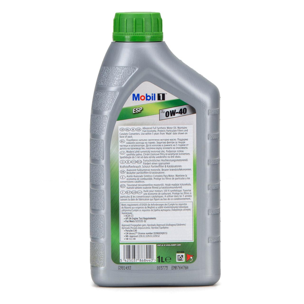 Mobil 1 ESP X3 C40 Motoröl Öl 0W-40 0W40 dexos2 PORSCHE C40 VW 511.00 - 1 Liter