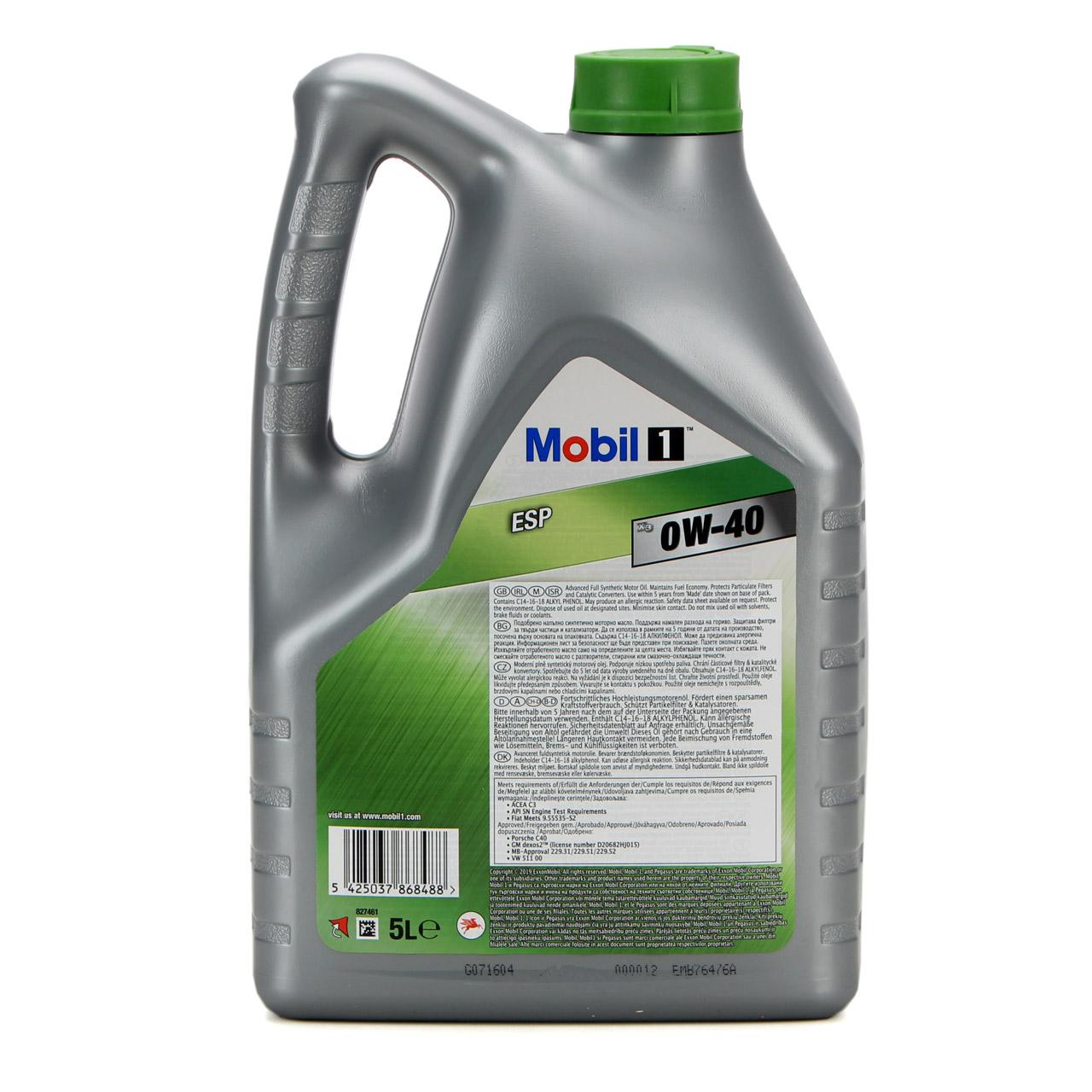 Mobil 1 ESP X3 C40 Motoröl Öl 0W-40 0W40 dexos2 PORSCHE C40 VW 511.00 - 5 Liter