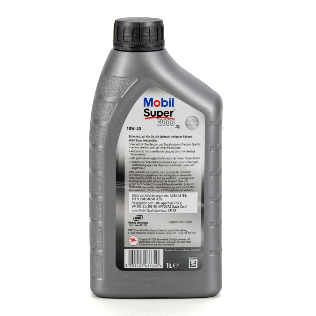 Mobil SUPER 2000 X1 10W40 Super Premium Motoröl Öl VW 501.01/505.00 - 1L 1 Liter