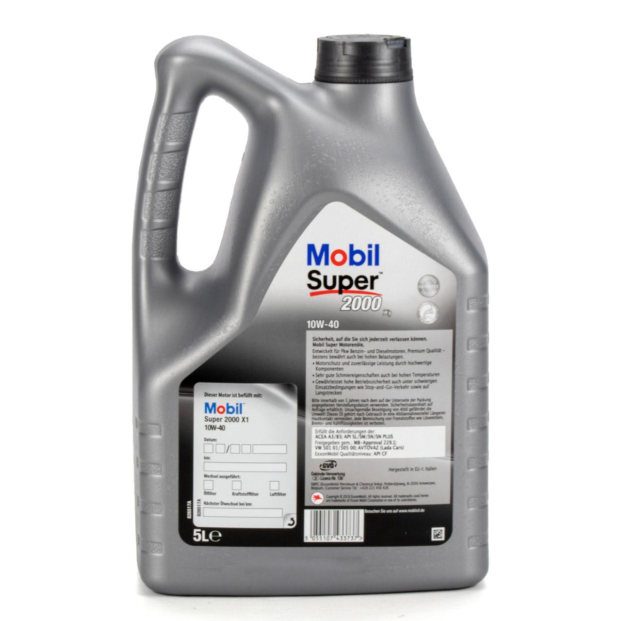 Mobil SUPER 2000 X1 10W40 Super Premium Motoröl Öl VW 501.01/505.00 - 5L 5 Liter