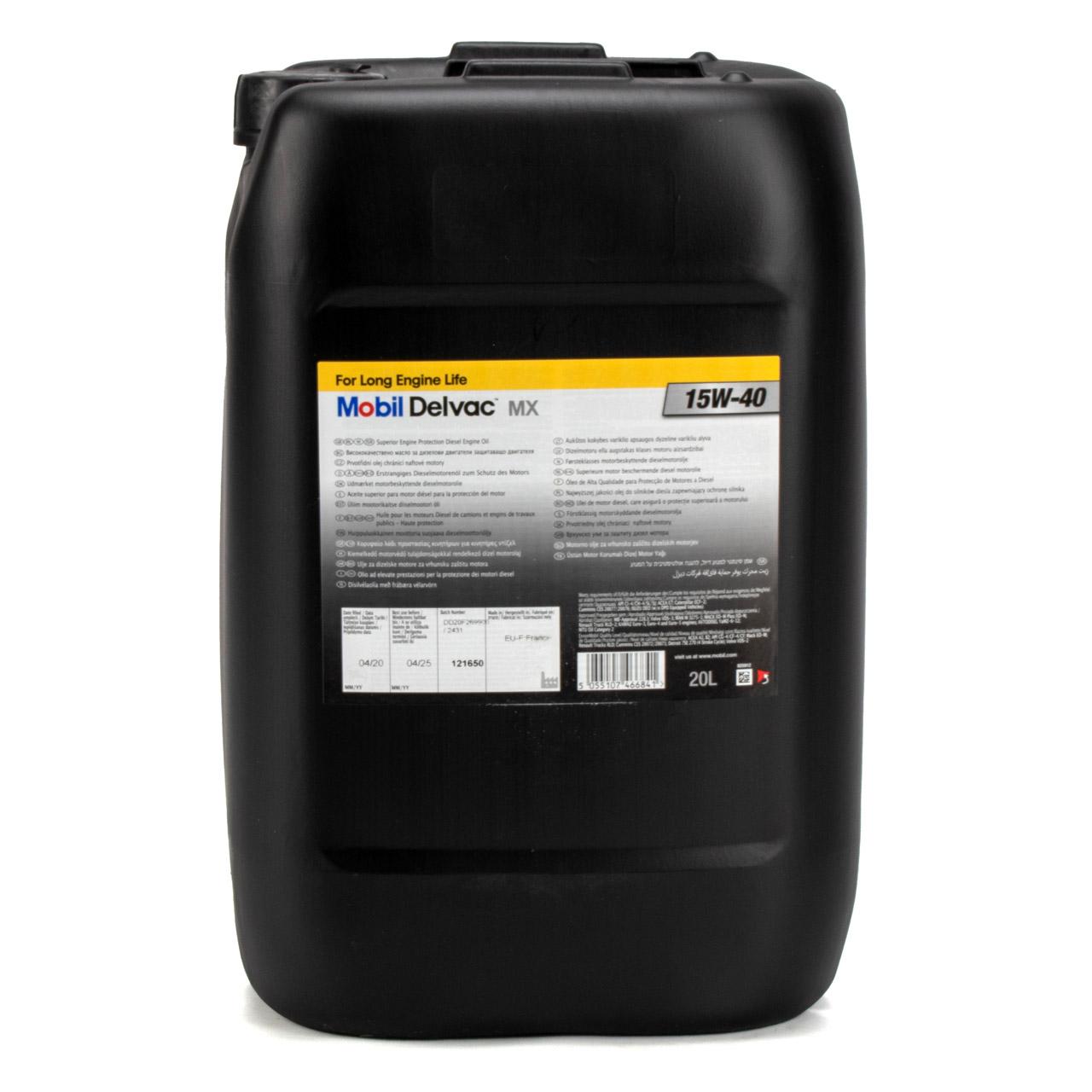 Mobil DELVAC MX Motoröl Öl Dieselmotoröl 15W40 LKW Baumaschinen - 20L 20 Liter