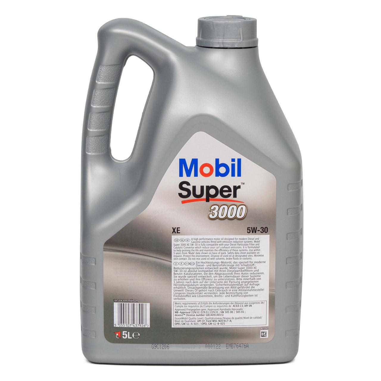 Mobil 3000 SUPER XE Motoröl Öl 5W-30 5W30 dexos2 VW 505.00/505.01 - 5L 5 Liter