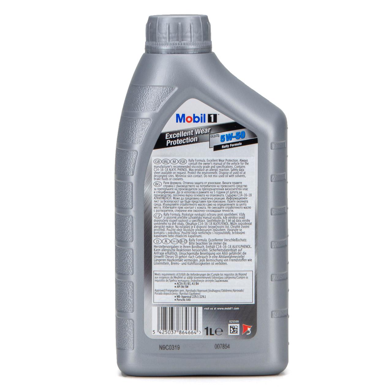 Mobil 1 FS X1 Motoröl Öl 5W-50 5W50 PORSCHE A40 MB 229.3 / 229.1 - 1L 1 Liter