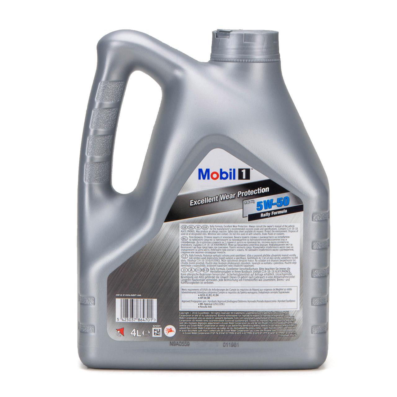 Mobil 1 FS X1 Motoröl Öl 5W-50 5W50 PORSCHE A40 MB 229.3 / 229.1 - 4L 4 Liter