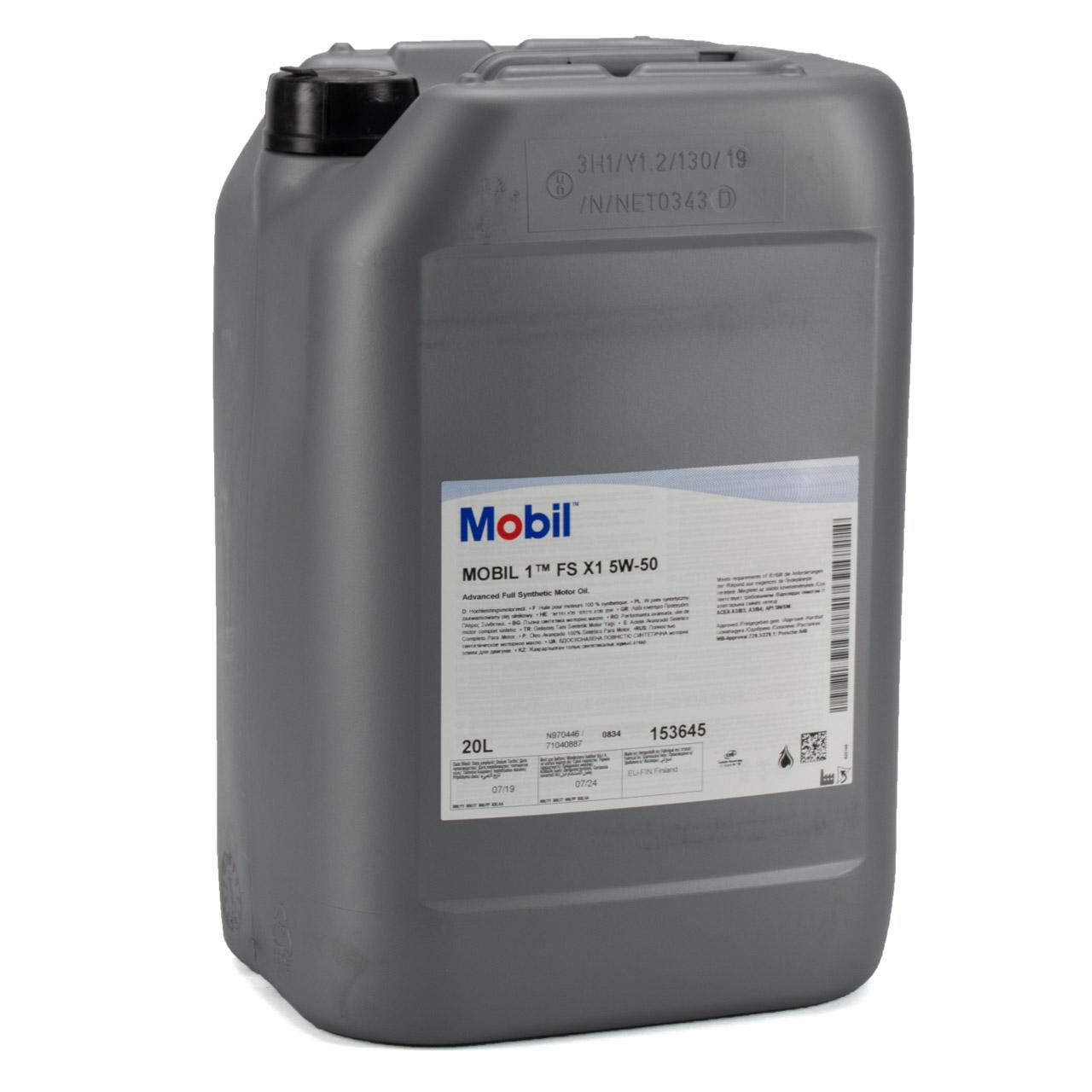 Mobil 1 FS X1 Motoröl Öl 5W-50 5W50 PORSCHE A40 MB 229.3 / 229.1 - 20L 20 Liter