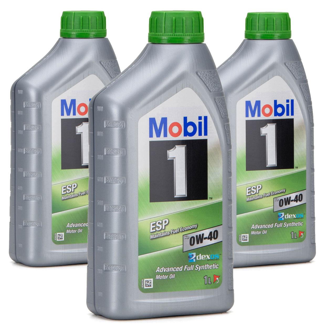Mobil 1 ESP X3 C40 Motoröl Öl 0W-40 0W40 dexos2 PORSCHE C40 VW 511.00 - 3 Liter
