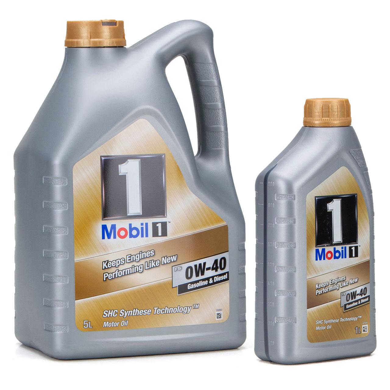 Mobil 1 FS Motoröl Öl 0W-40 0W40 MB PORSCHE A40 VW 502.00 505.00 - 6L 6 Liter