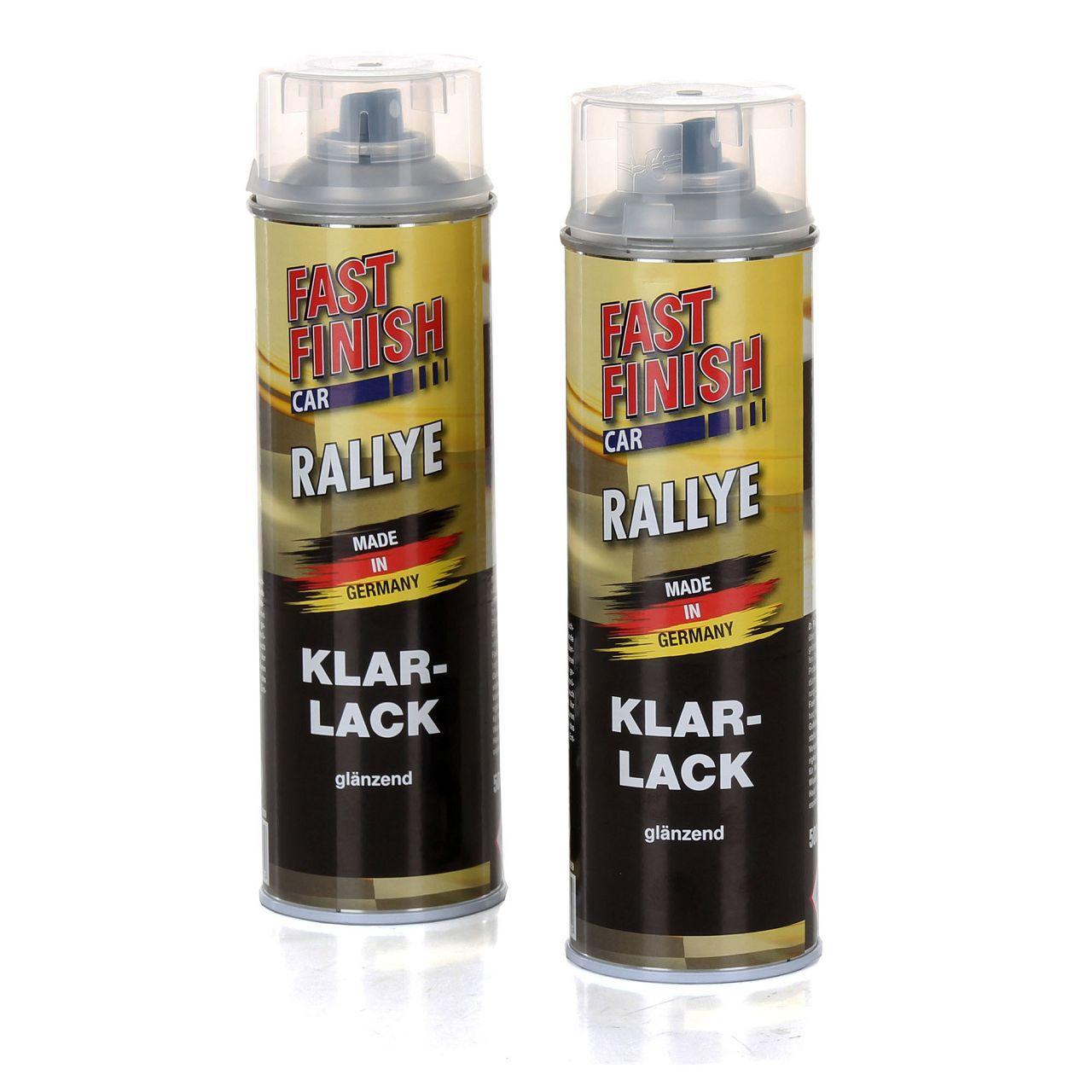 2x 500 ml FAST FINISH Car Rallye Klarlack Lackspray glänzend Spraydose 292859