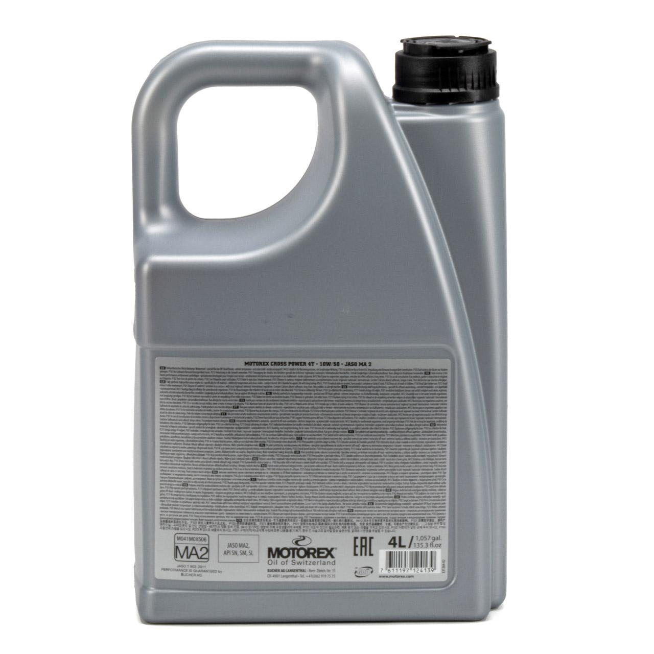 MOTOREX Cross Power 4T Motoröl Öl 10W50 JASO MA2 API SN/SM/SL - 4L 4 Liter