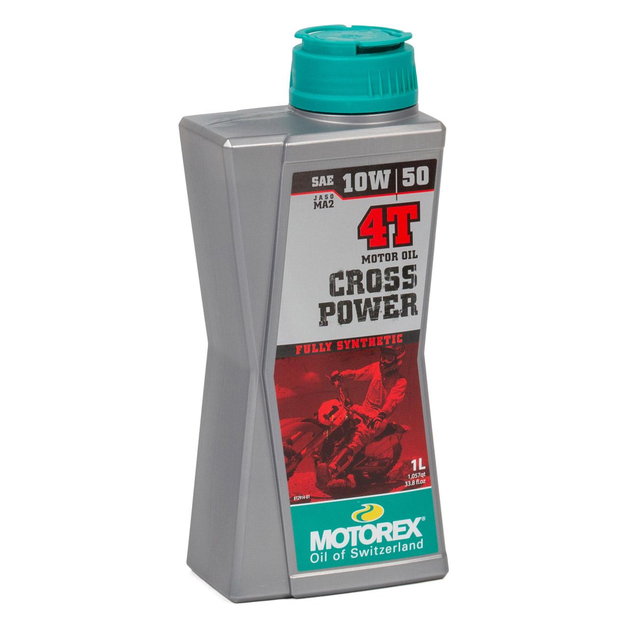 MOTOREX Cross Power 4T Motoröl Öl 10W50 JASO MA2 API SN/SM/SL - 1L 1 Liter
