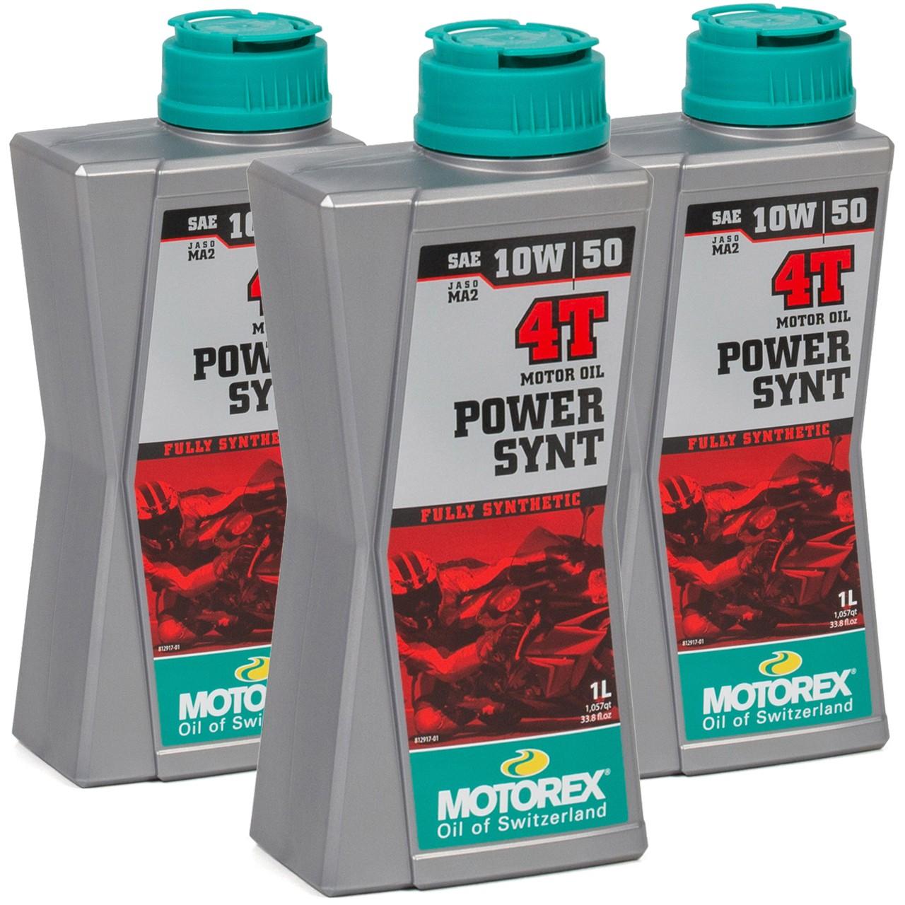 MOTOREX Power Synt 4T Motoröl Öl 10W50 JASO MA2 API SN/SM/SL - 3L 3 Liter