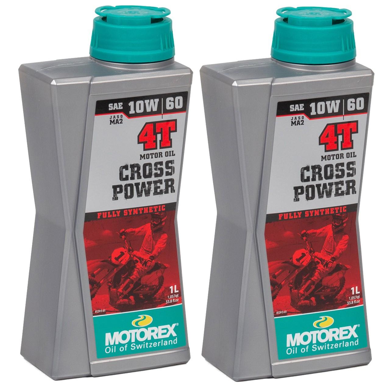 MOTOREX Cross Power 4T Motoröl Öl 10W60 JASO MA2 API SL/SH/SG - 2L 2 Liter
