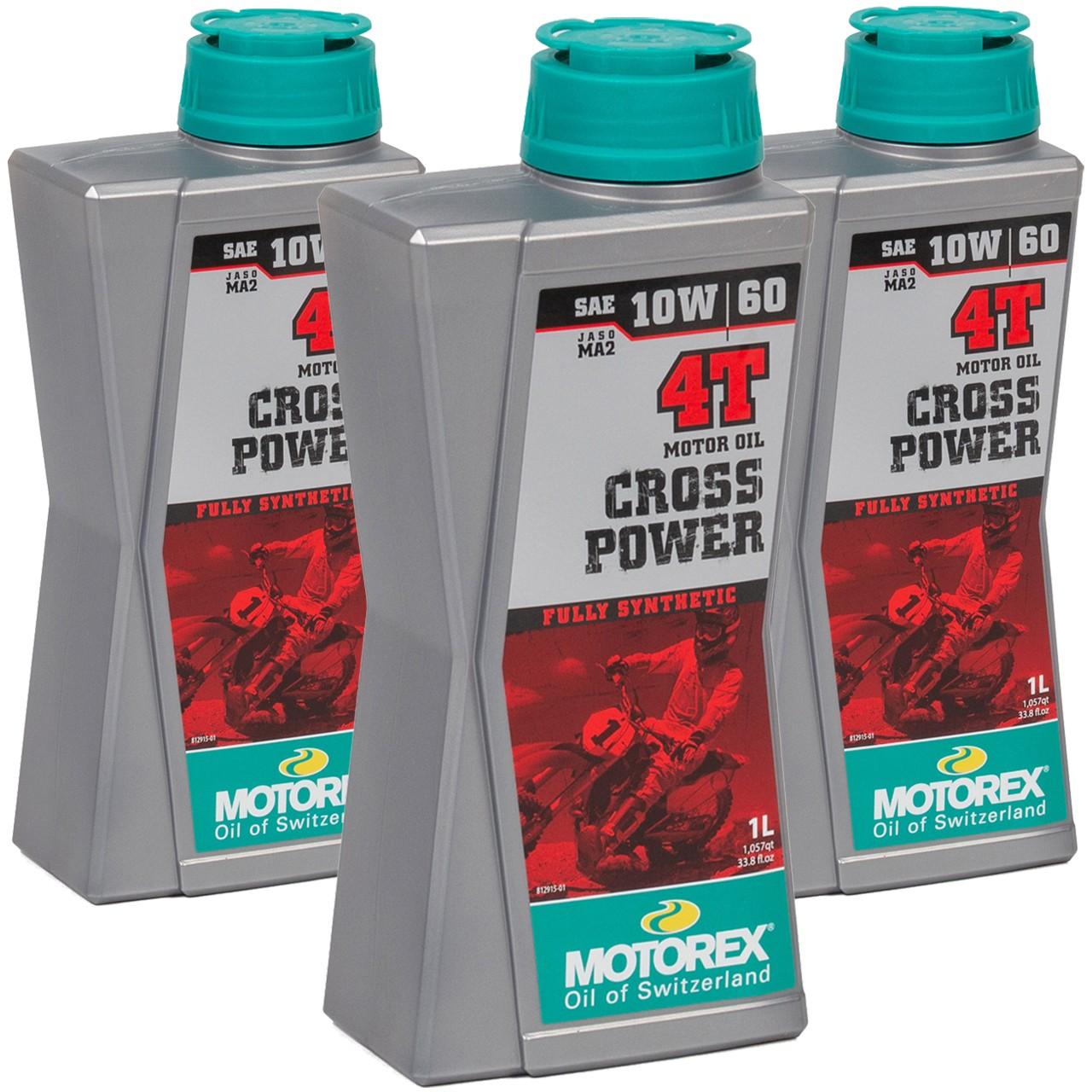 MOTOREX Cross Power 4T Motoröl Öl 10W60 JASO MA2 API SL/SH/SG - 3L 3 Liter