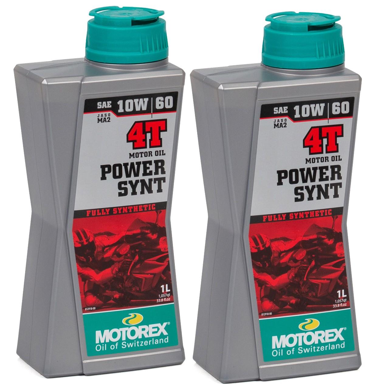 MOTOREX Power Synt 4T Motoröl Öl 10W60 JASO MA2 API SL/SH/SG - 2L 2 Liter