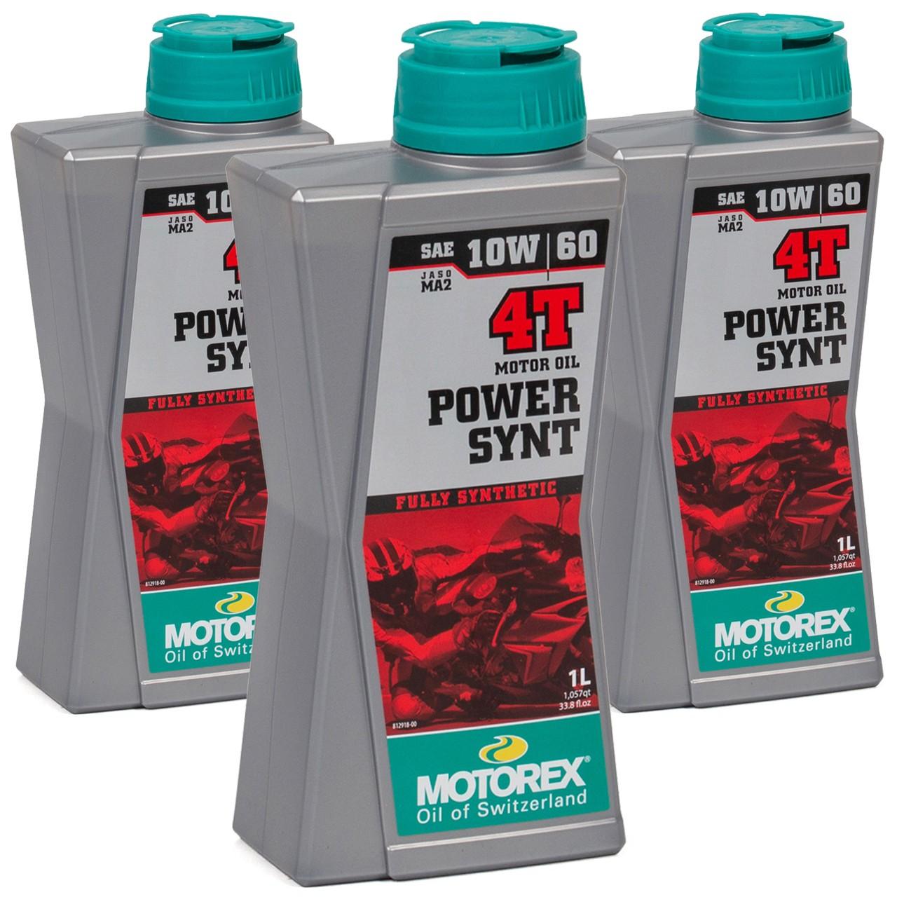 MOTOREX Power Synt 4T Motoröl Öl 10W60 JASO MA2 API SL/SH/SG - 3L 3 Liter