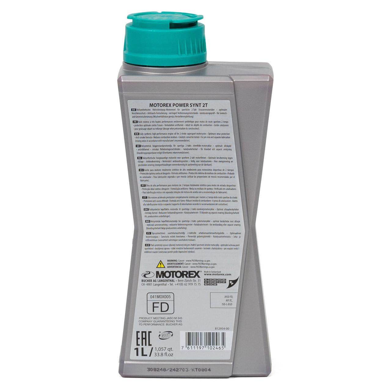 MOTOREX Power Synt 2T LOW SMOKE Motoröl API TC JASO FD ISO-L-EGD - 1L 1 Liter