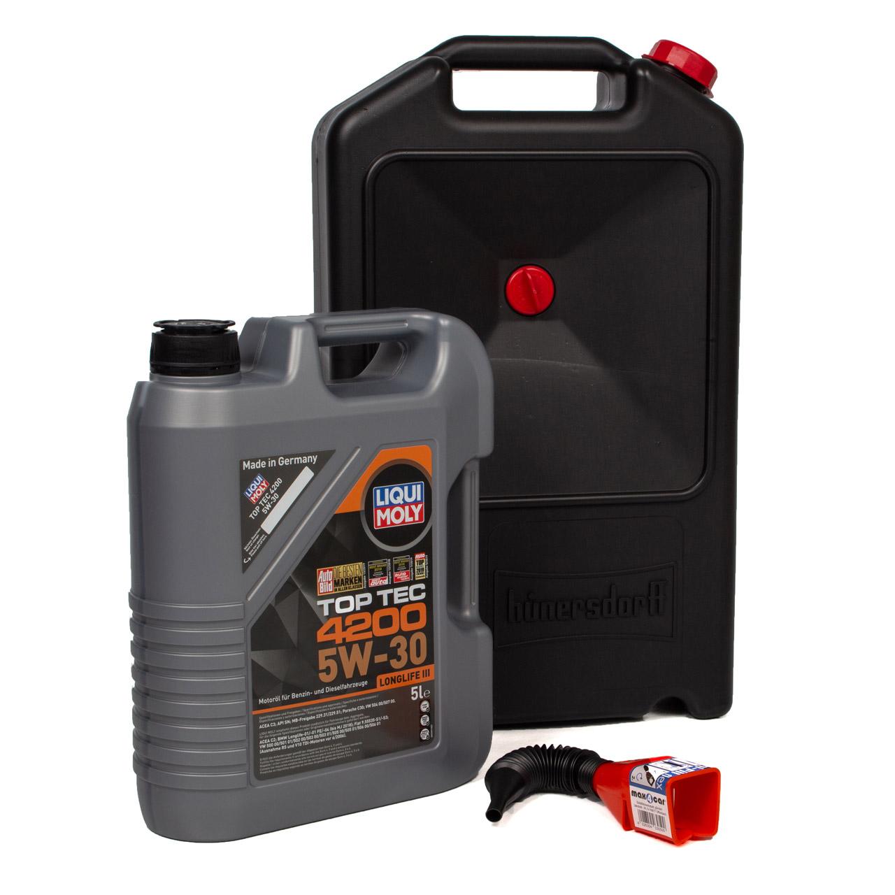 LIQUI MOLY Motoröl Öl TOP TEC 4200 5W-30 - 5 Liter + Trichter + Auffangwanne