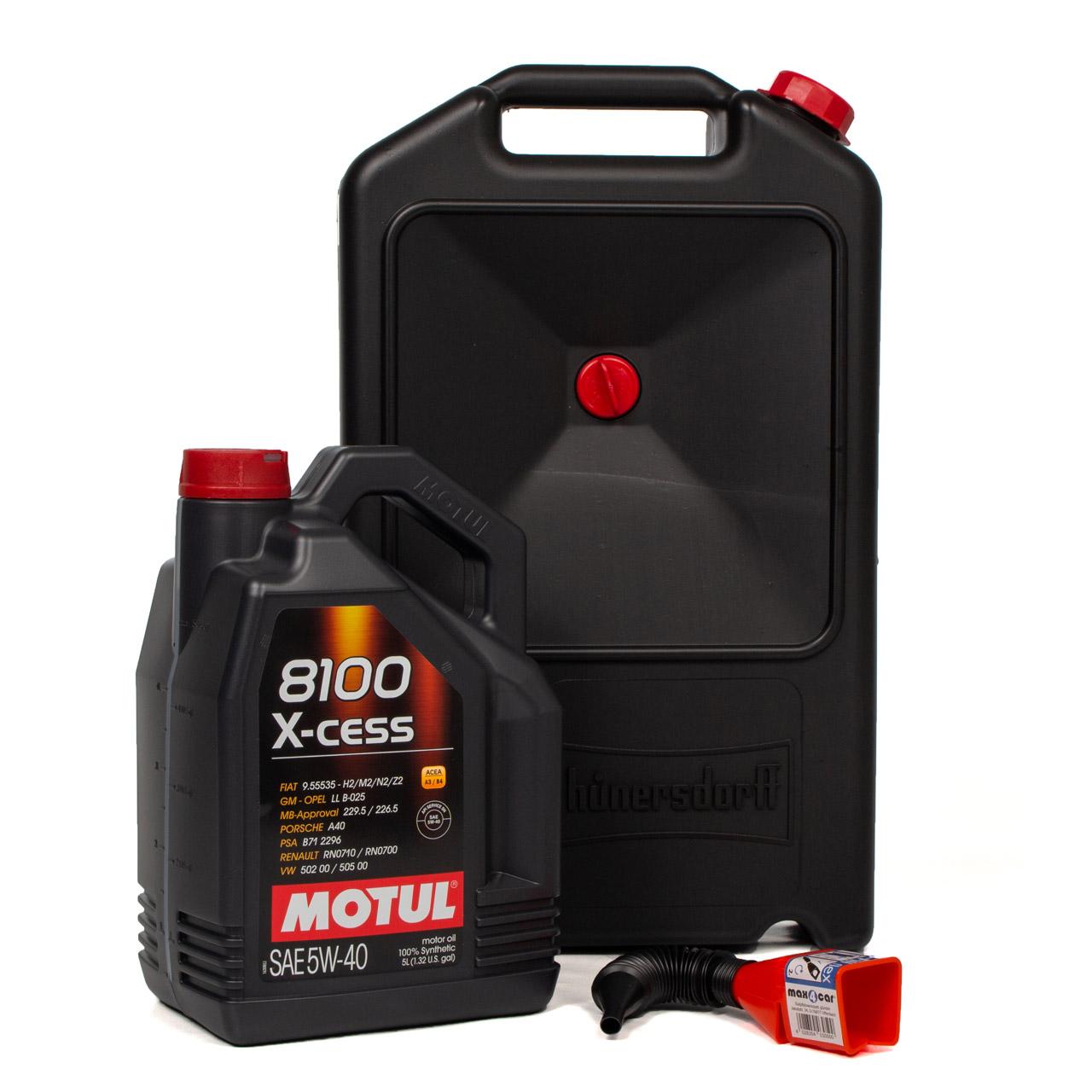 MOTUL 8100 X-cess Motoröl Öl 5W-40 5W40 - 5 Liter + Trichter + Auffangwanne