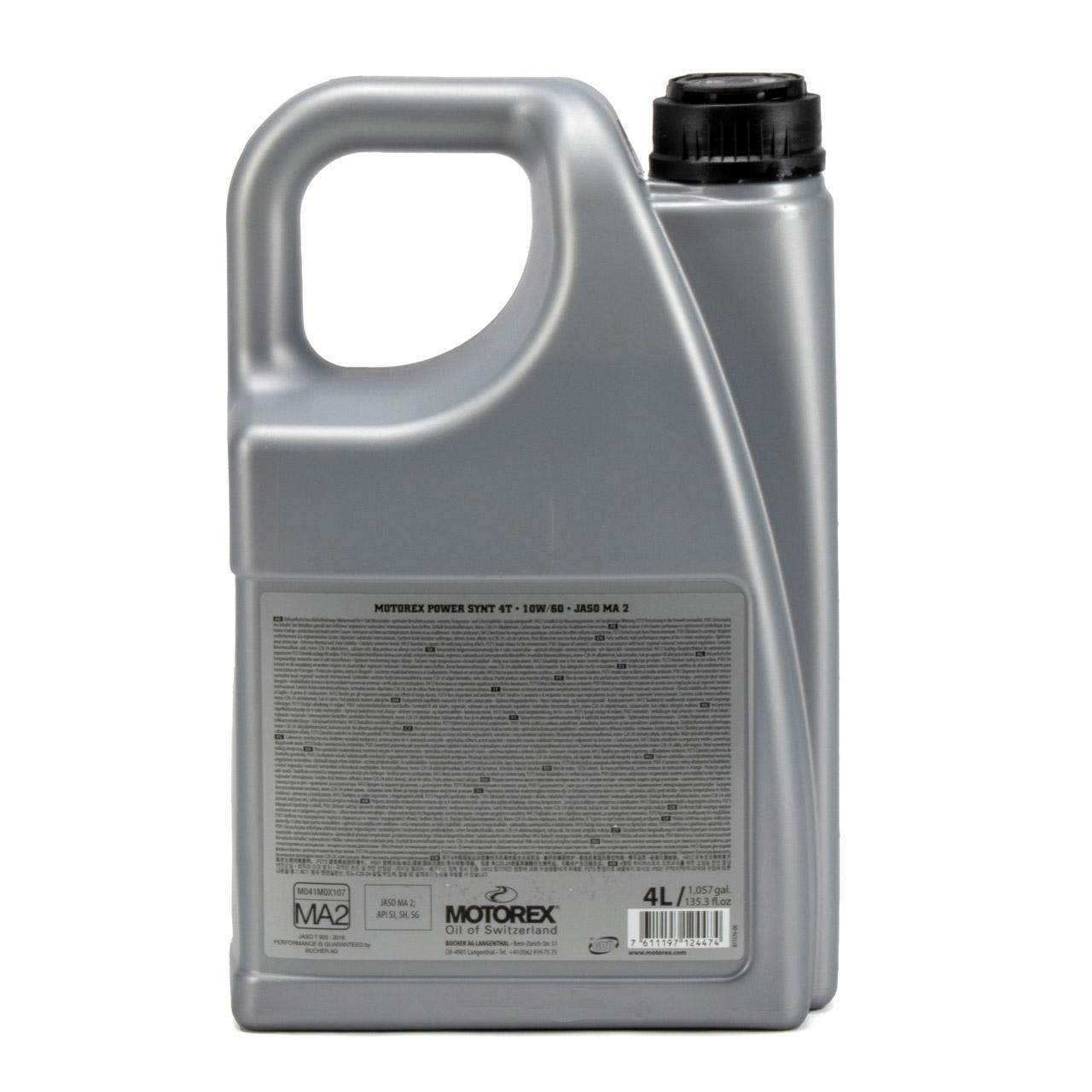 MOTOREX Power Synt 4T Motoröl Öl 10W60 JASO MA2 API SL/SH/SG - 4L 4 Liter