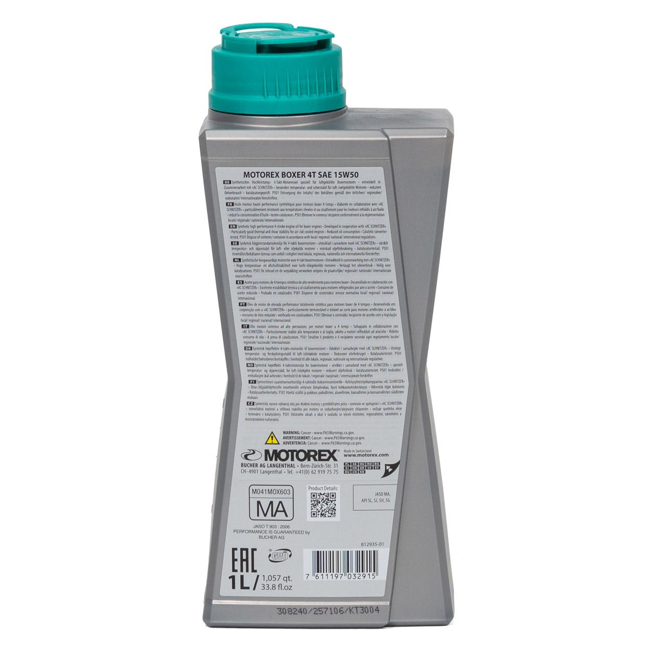 MOTOREX Boxer 4T Motoröl Öl 15W-50 15W50 JASO MA API SL/SJ/SH/SG - 1L 1 Liter
