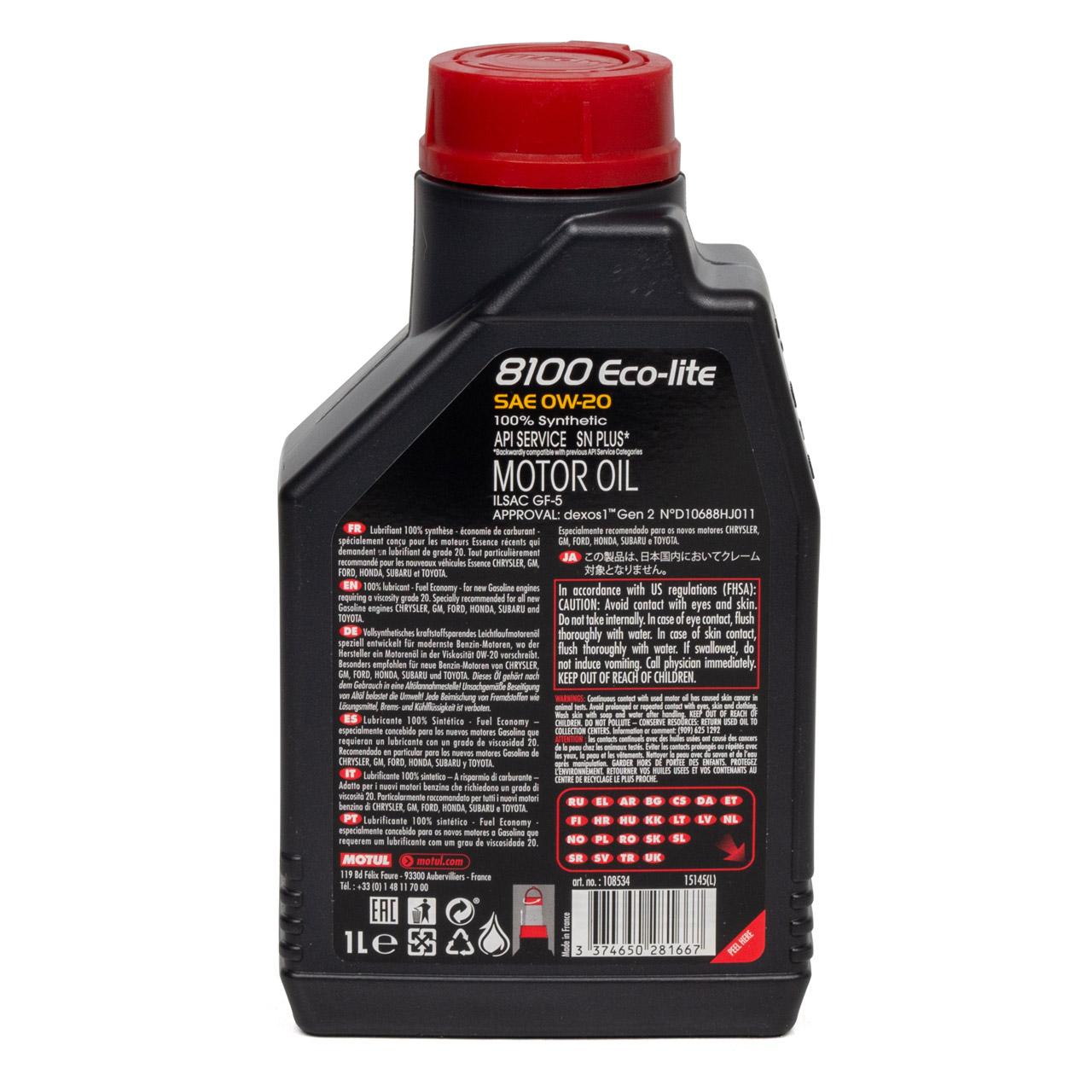 MOTUL 8100 ECO-Lite Motoröl Öl 0W-20 0W20 GM OPEL dexos1 Gen.2 - 1L 1 Liter