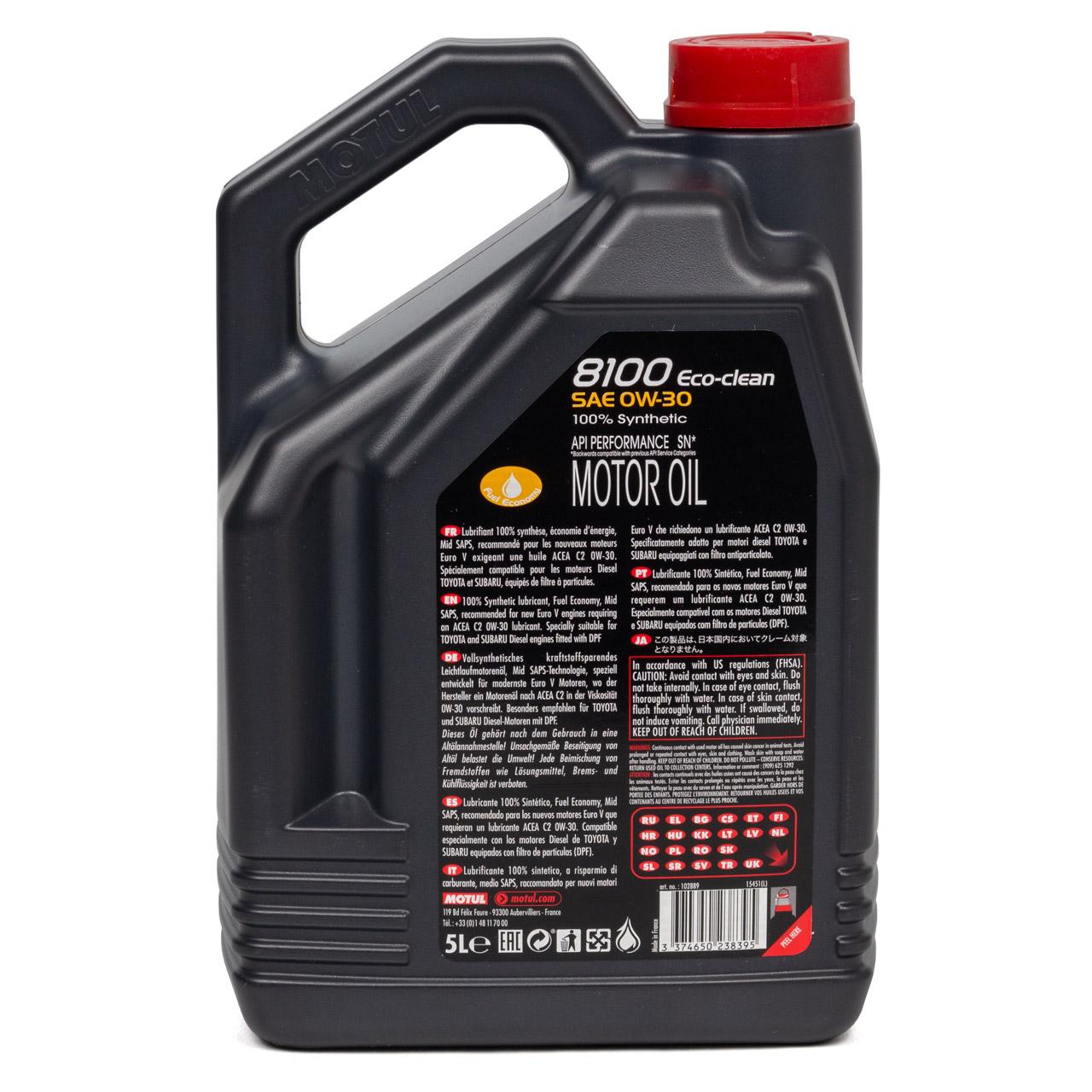 MOTUL 8100 ECO-Clean Motoröl Öl 0W30 ACEA C2 FORD WSS-M2C950-A - 5L 5 Liter