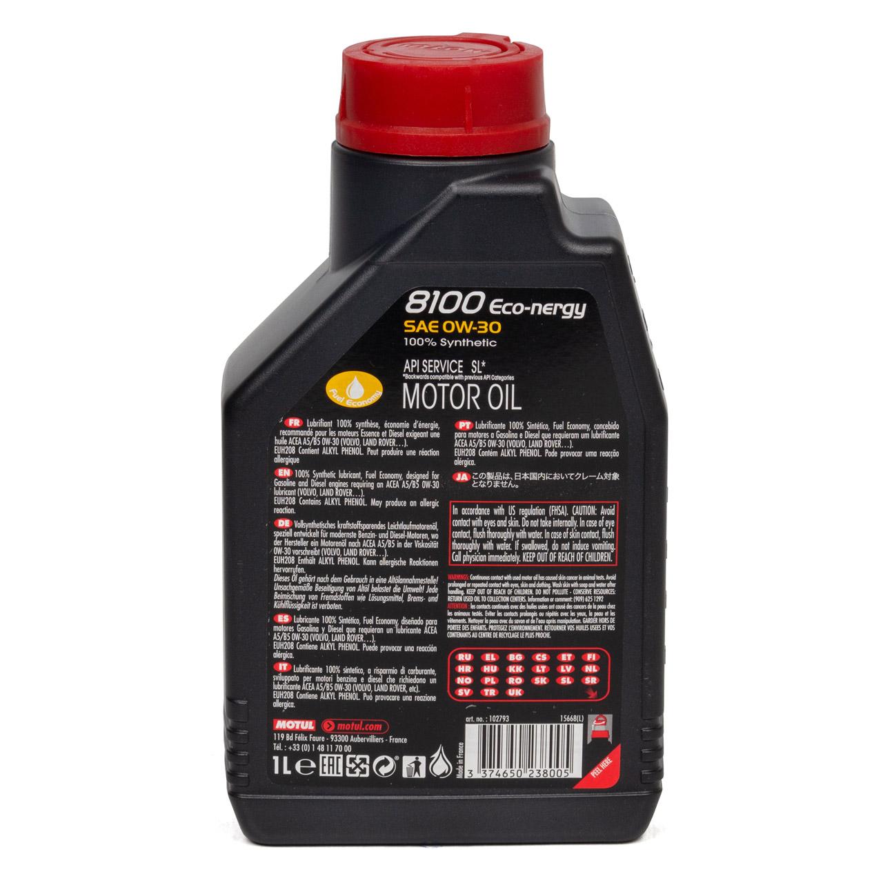 MOTUL 8100 ECO-nergy Motoröl Öl 0W30 ACEA A5/B5 VOLVO VCC95200377 - 1L 1 Liter