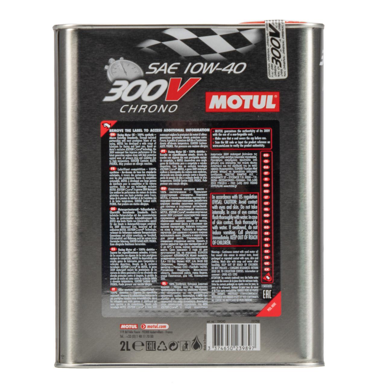 MOTUL 300V CHRONO Motoröl Öl 10W40 100% Synthetic Ester Core - 2L 2 Liter