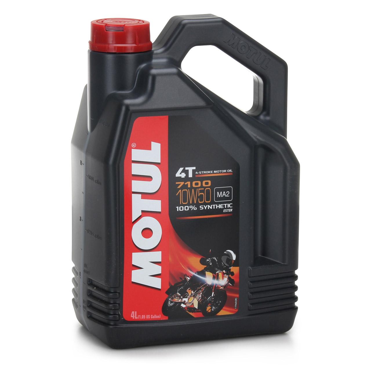 MOTUL 7100 4T 4-TAKT Ester Motoröl ÖL 10W50 API Sl SM SN MA2 Motorrad 4 Liter