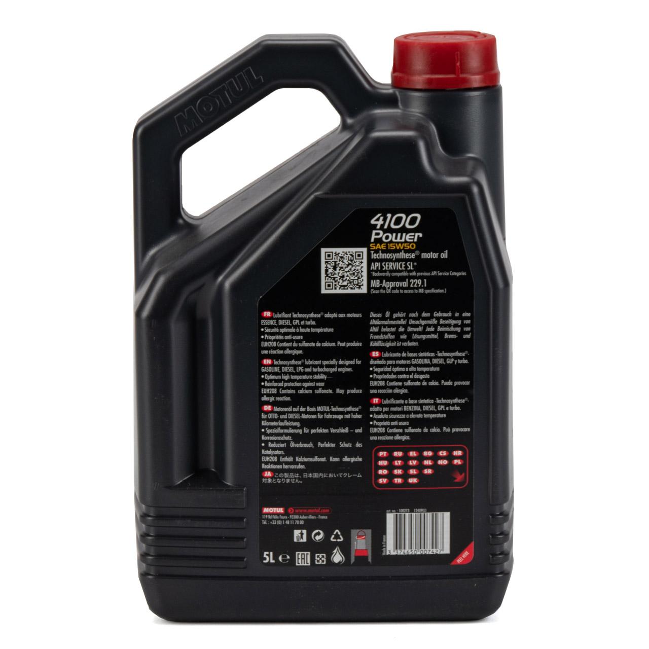 MOTUL 4100 Power Motoröl Öl 15W50 MB 229.1 für VW 501.01/505.00 - 5L 5 Liter