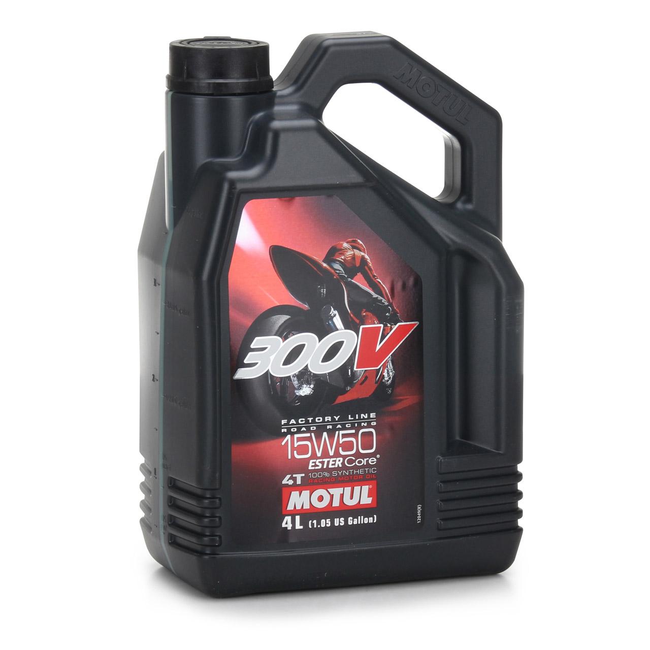 MOTUL 300 V 4T 4-TAKT Factory Line Ester Core Motoröl ÖL 15W50 Motorrad 5 Liter