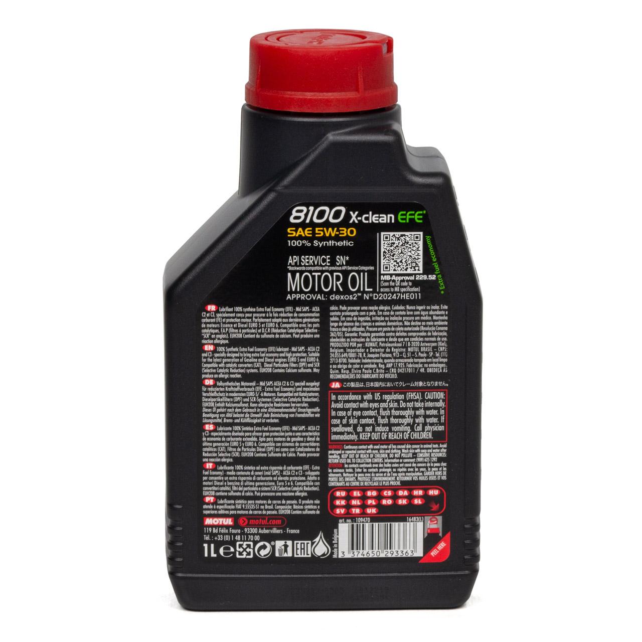 MOTUL 8100 X-Clean EFE Motoröl Öl 5W30 dexos2 VW 505.00/505.01 - 1L 1 Liter