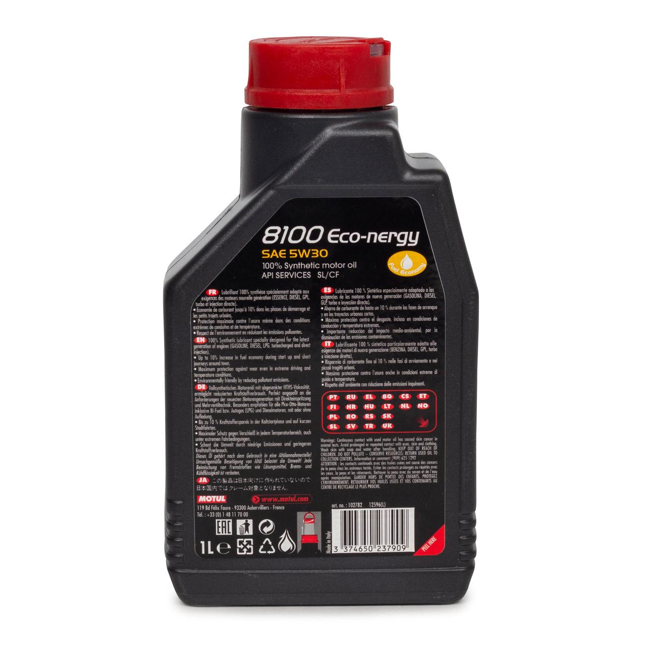 MOTUL 8100 ECO-nergy Motoröl Öl 5W30 FORD WSS M2C 913D RENAULT RN0700 - 1 Liter