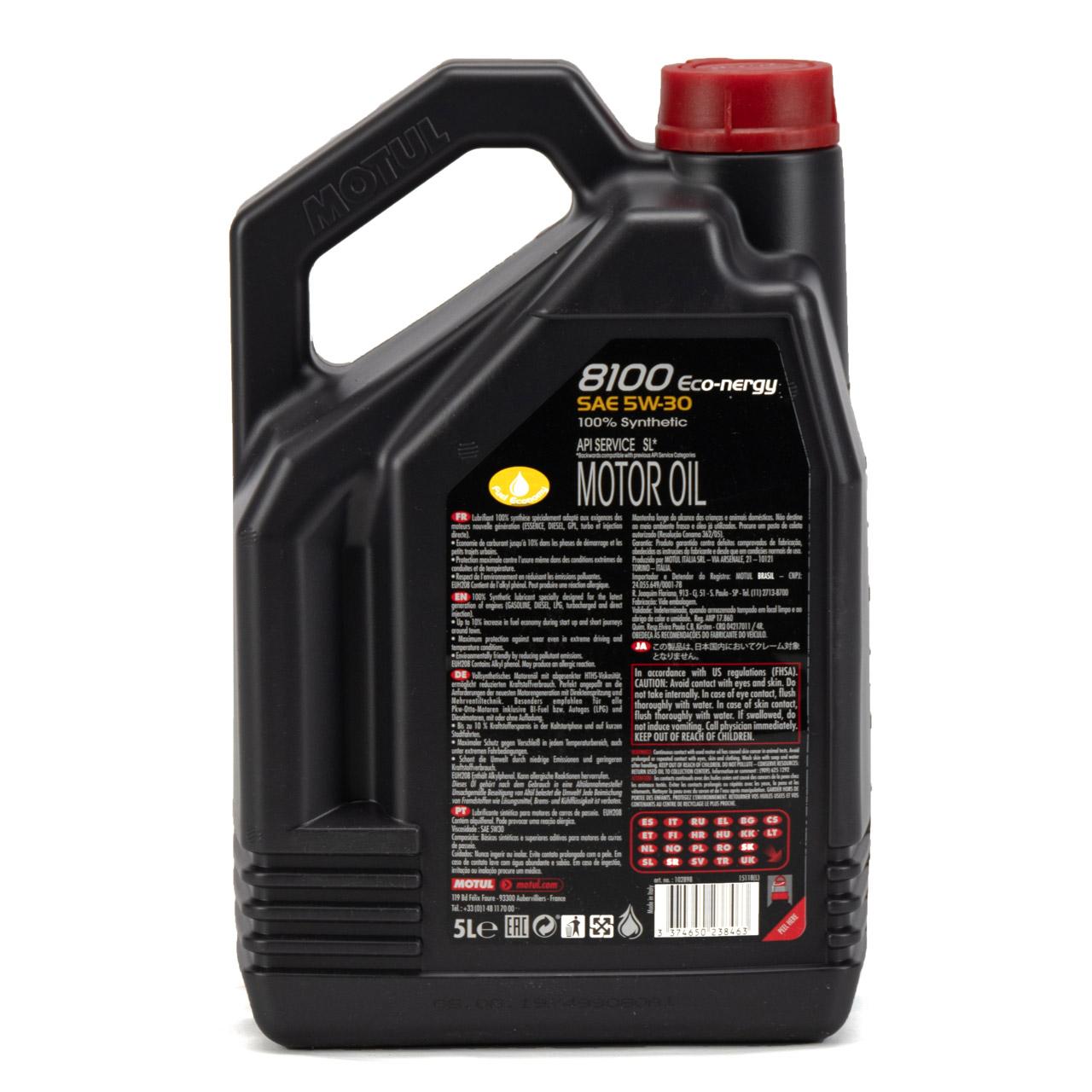 5 Liter 5L MOTUL 8100 ECO-nergy Motoröl Öl 5W30 FORD WSS M2C 913D RENAULT RN0700
