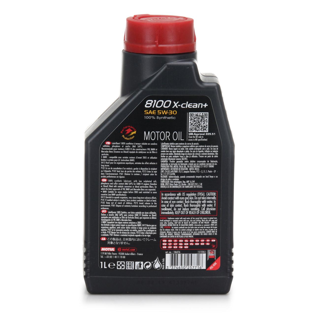 MOTUL 8100 X-clean+ C3 Motoröl Öl 5W30 BMW LL04 MB 229.51 VW 504/507.00 1 Liter