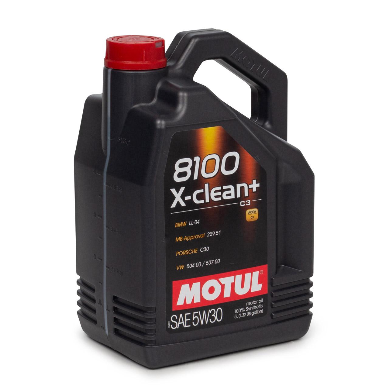 5 Liter 5L MOTUL 8100 X-clean+ C3 Motoröl Öl 5W30 BMW LL04 MB 22951 VW 504/50700