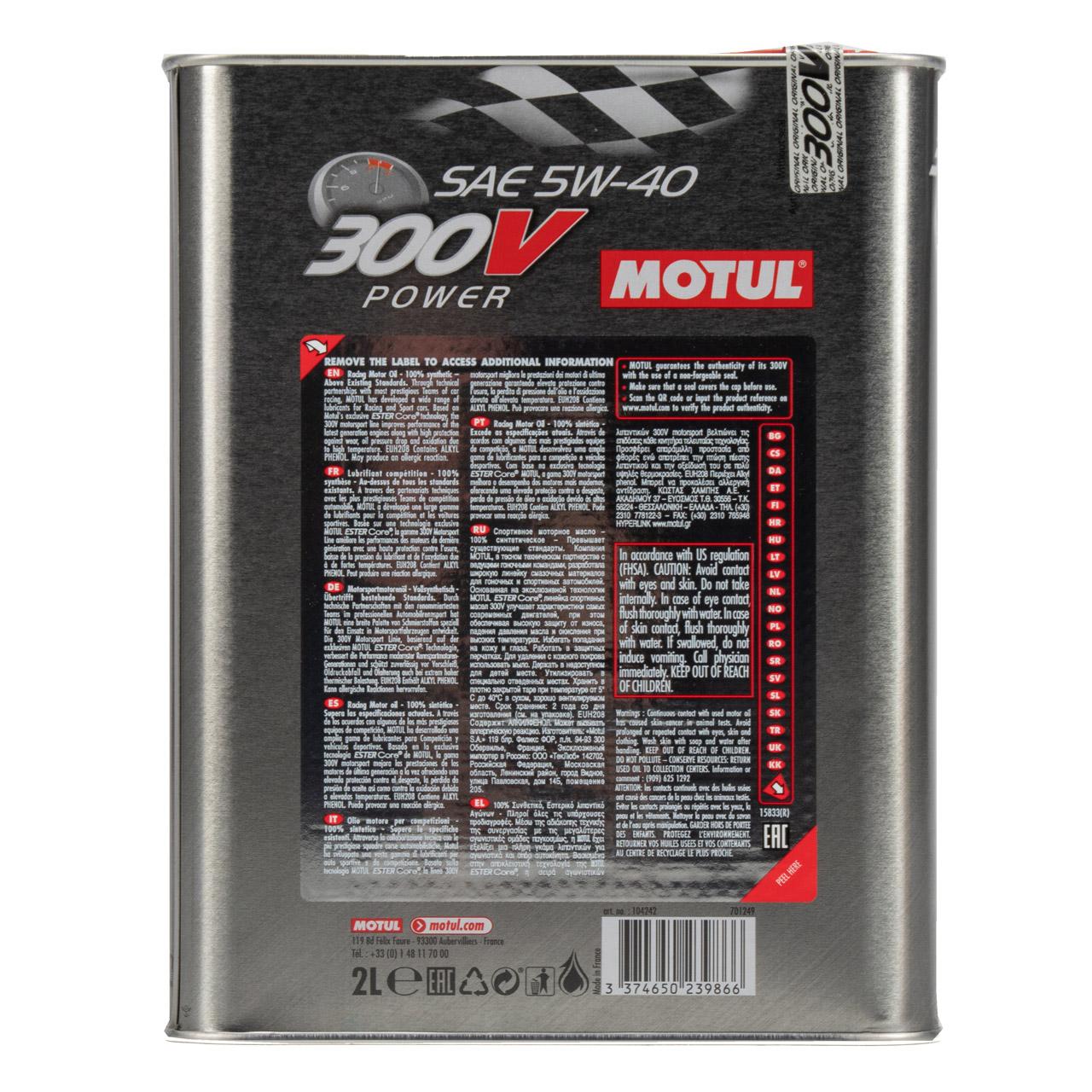 MOTUL 300V POWER RACING Motoröl Öl 5W40 100% Synthetic Ester Core - 2L 2 Liter