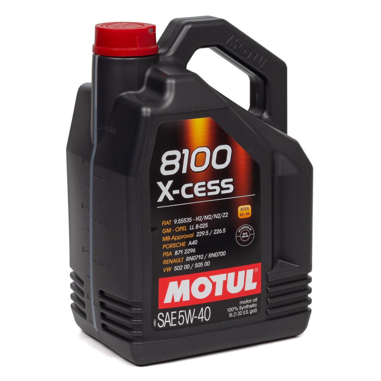MOTUL 8100 X-cess Motoröl Öl 5W40 MB 229.5/226.5 VW 502.00/505.00 - 10L 10 Liter