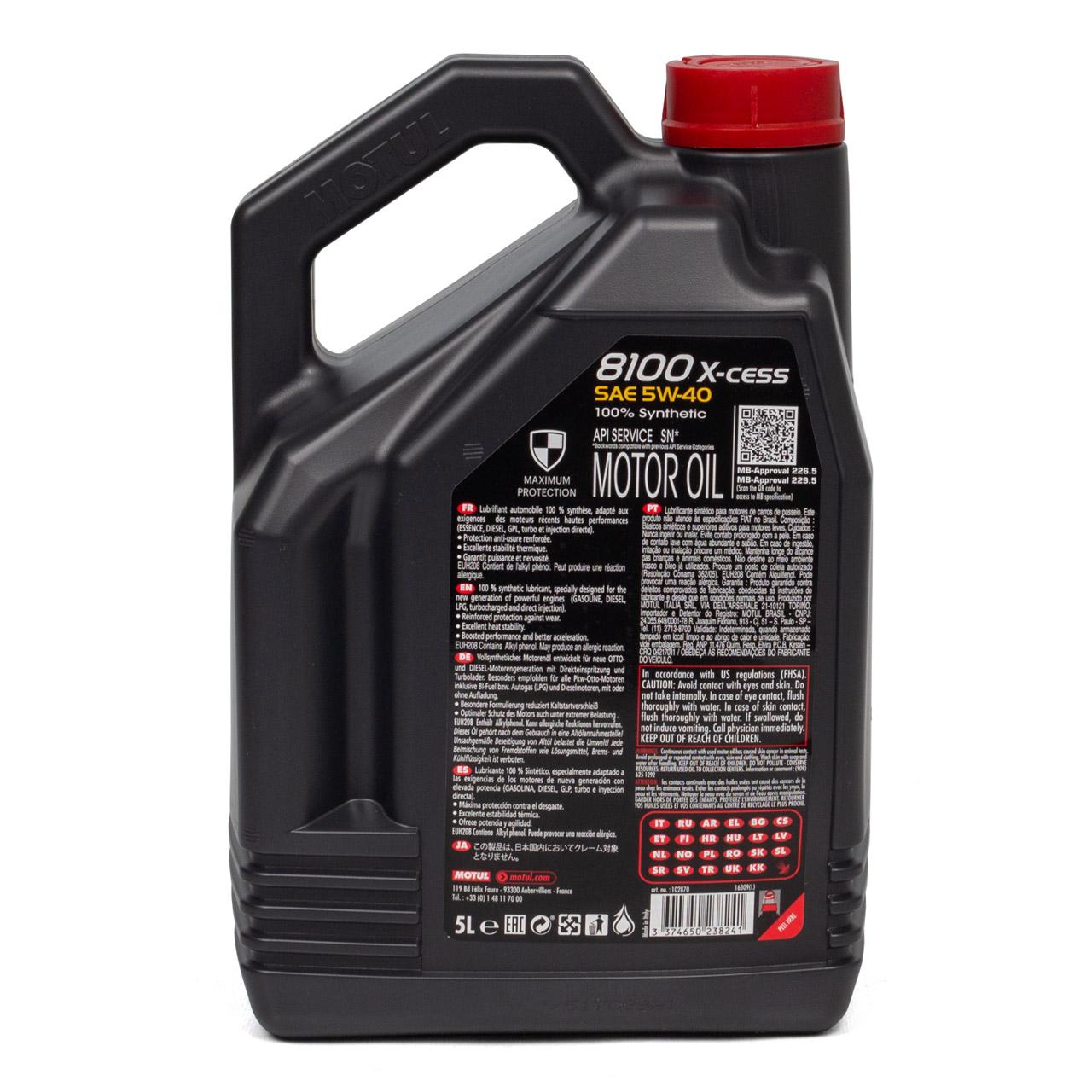 MOTUL 8100 X-cess Motoröl Öl 5W40 MB 229.5/226.5 VW 502.00/505.00 - 5L 5 Liter