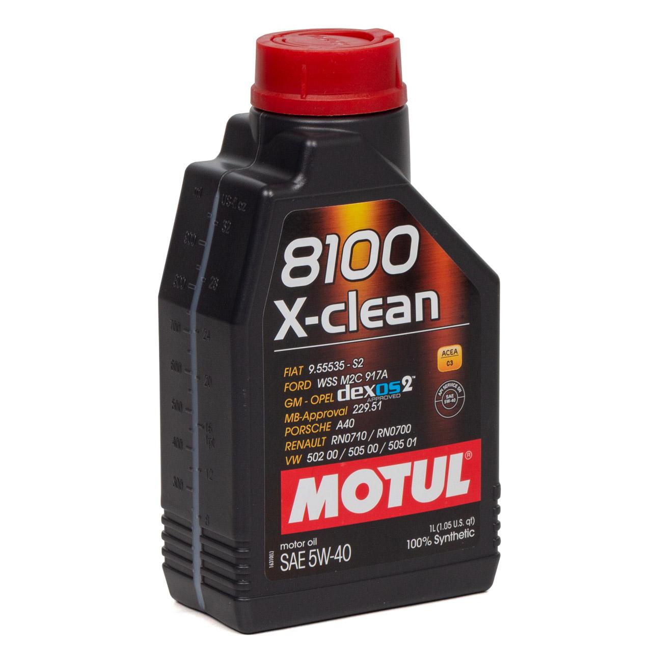 MOTUL 8100 X-Clean Motoröl Öl 5W40 dexos2 VW 502.00/505.00/505.01 - 1L 1 Liter