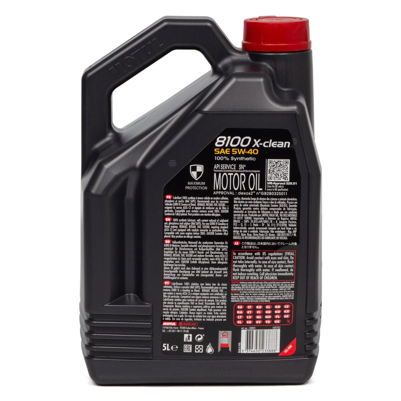 MOTUL 8100 X-Clean Motoröl Öl 5W40 dexos2 VW 502.00/505.00/505.01 - 5L 5 Liter