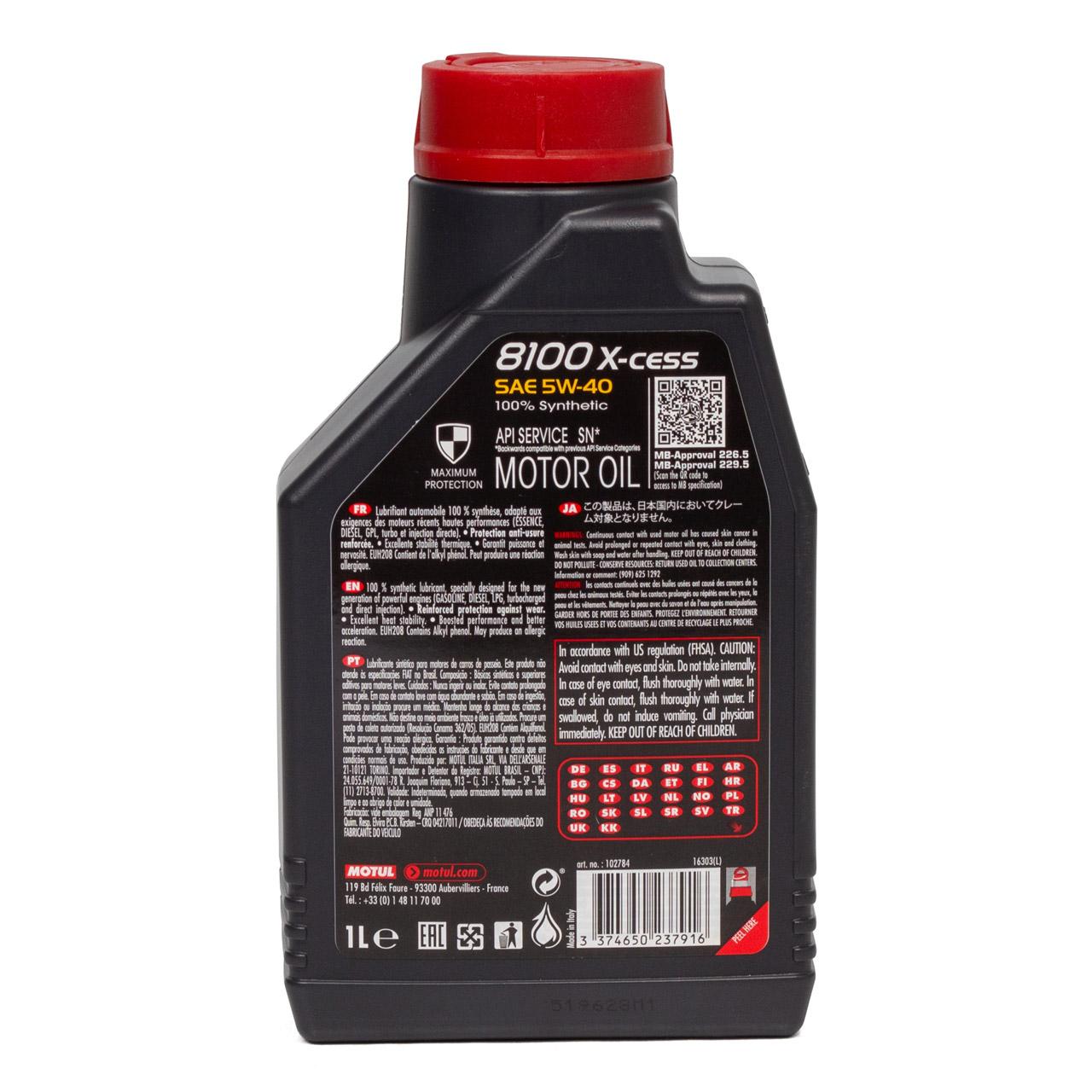 MOTUL 8100 X-cess Motoröl Öl 5W40 MB 229.5/226.5 VW 502.00/505.00 - 1L 1 Liter
